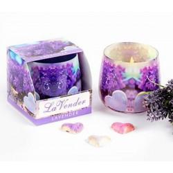 Szklana świeca zapachowa LAWENDA
