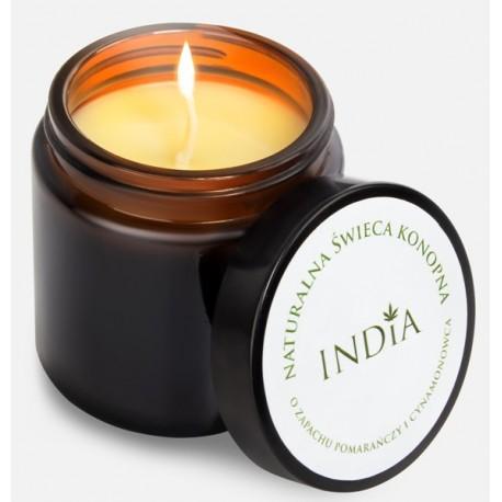 Naturalna świeca konopna o zapachu pomarańczy i cynamonowca INDIA
